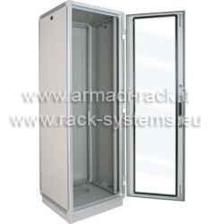ARMADIO RACK 42U X 596 X 551 struttura in estruso di alluminio, porta anteriore con finestra in cristallo temprato, fianchi e retro...