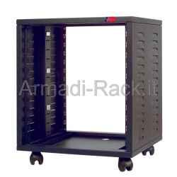 Mobile HI FI professionale per rack 19 pollici da 12 unità, L=530, P=500, H=580(640 con ruote) mm. Colore nero RAL9005