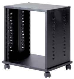 Mobile HI FI professionale per rack 19 pollici da 12 unità, L=530, P=430, H=580(640 con ruote) mm. Colore nero RAL9005