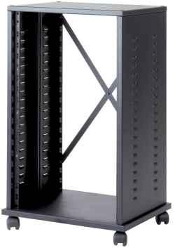 Mobile HI FI professionale per rack 19 pollici da 18 unità, L=530, P=430, H=860(920 con ruote) mm. Colore nero RAL9005
