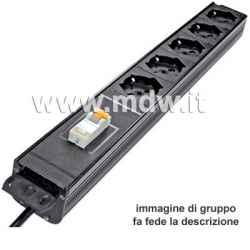 Multipresa 5 prese + interruttore magneto-termico - struttura in alluminio