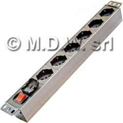 Multipresa 6 prese con interruttore luminoso bipolare, struttura in alluminio