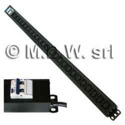 Multipresa 24 prese VDE C13 + interruttore magneto-termico 32A struttura in alluminio